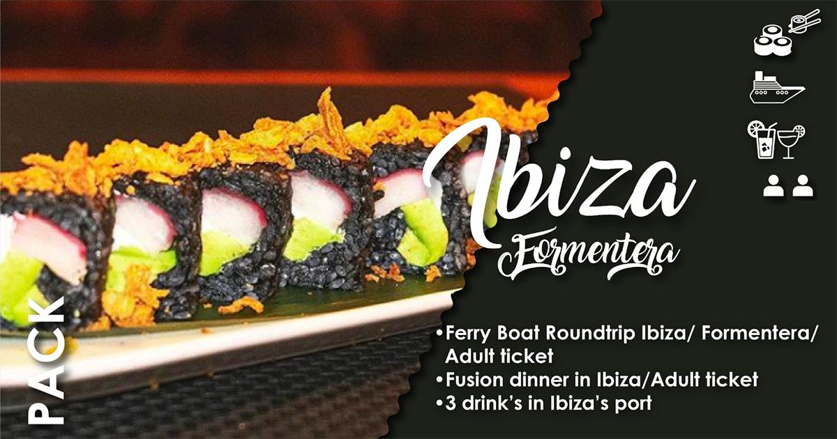 2 PAX - FERRY BOAT IBIZA / FORMENTERA and 3 LONG DRINKS in IBIZA'S PORT &  1 MENU SUSHI x 2 PAX at IBIZA TOWN