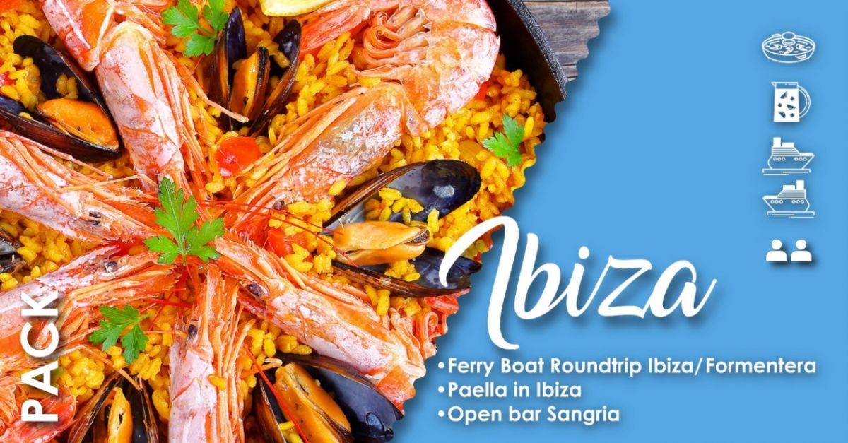 2  PAX - FERRY BOAT IBIZA / FORMENTERA (ROUNDTRIP) and LUNCH or DINNER in IBIZA with  PAELLA & OPEN SANGRIA